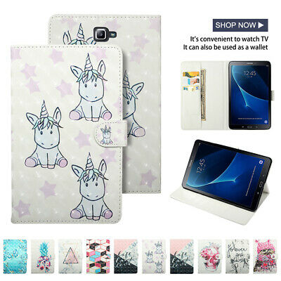 3D Smart Magnetic Case for Samsung Tab A 10.1 T580 Stand Folding Card Slot Cover