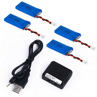 4pcs 3.7V 500mAh Lipo Battery WITH Charger for Syma X5S X5SW X5SC Quadcopter MY