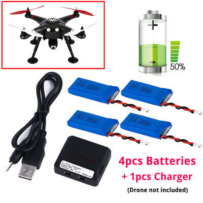 3.7V 500mAh Lipo Battery (4PCS) + 4 in 1 Charger For Syma X5C-1 X5SW Drone MY