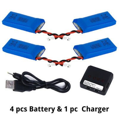 4Pcs 3.7V 500mAh 25C Lipo Battery WITH 4-Port Charger Set for SYMA X5S X5SW MY