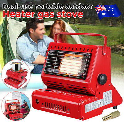 2 in 1 Outdoor Camping Butane Gas Heater Warmer Hiking Camp Survival Cooker RED