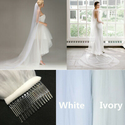 1T White/Ivory 2M Long Prom Gown Wedding Bridal Veil Cathedral Length With Comb