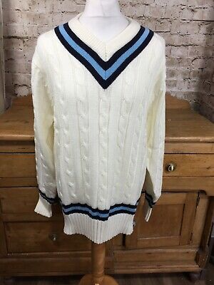 """cd0abae25c6 Vintage 1990s Mai Cable Knit Cricket Varsity Jumper Mens XL Extra Large 44""""  Rare"""
