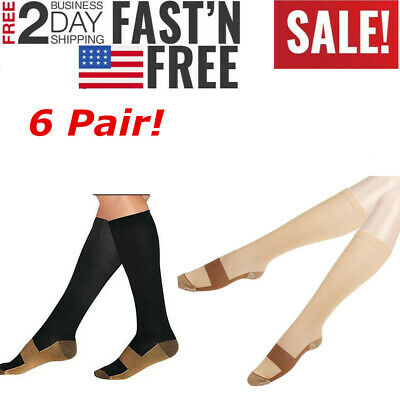 (6Pairs) Copper Compression Stockings 20-30mmHg Support Socks Men's Women'sS-XXL