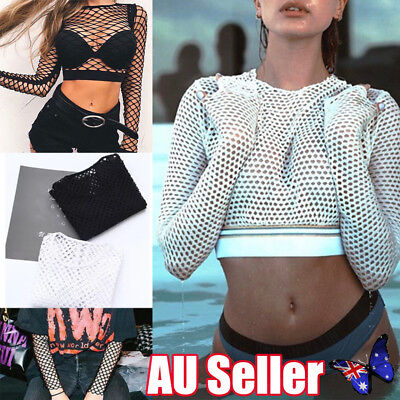 Fashion Womens Crop Top All Mesh Fishnet Long Sleeve Stretch Vest T Shirt NEW vw
