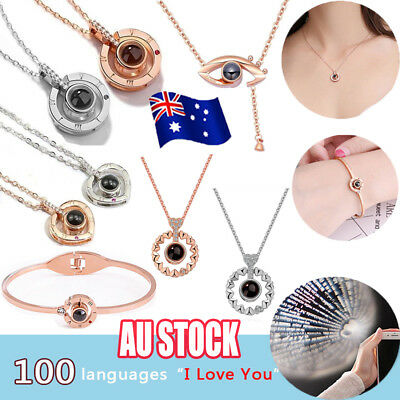 I LOVE YOU in 100 languages 925 Silver Gold Pendant Necklace For Memory LOVE vw