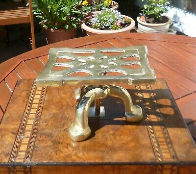 19th Century Antique Victorian Brass Trivet Stand-Unusual with Height Adjuster