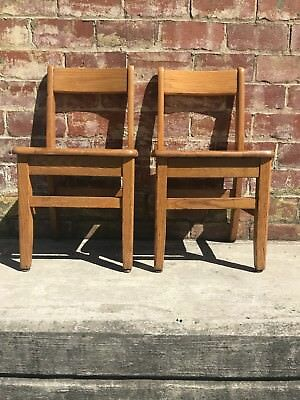 "(2) Vintage Solid Oak Childs Primary School Classroom Library Chair 14"" Seat"