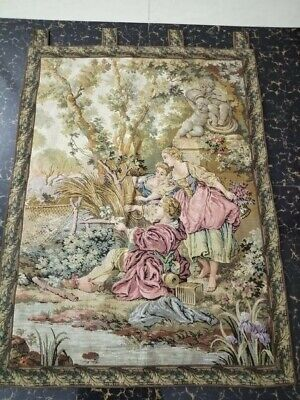 "Antique 19c Aubusson French Tapestry excellent condition  size 41""x31cm104x78"