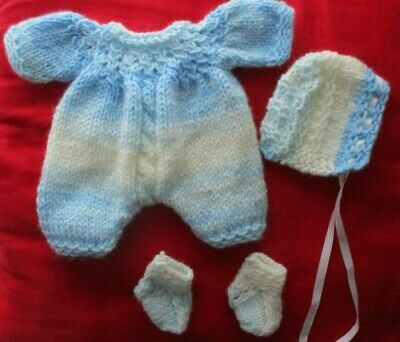 """Doll Clothes Blue Boy set romper booties bonnet Fit baby Truly Real 10""""  12"""""""