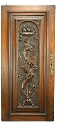 Architectural French Carved Panel Door with Griffin Dragon Chimera
