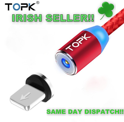 1M LED Magnetic USB Cable for iPhone TOPK (4 x Colour options Irish Seller!)