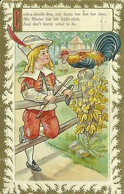 Nursery Rhyme Cock a doodle doo Rooster Embossed 1910 Postcard Oxford Maryland