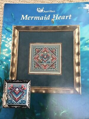 Just Nan Mermaid Heart cross stitch Chart with Charm and Bead Accessory Pack