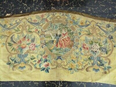 "Antique 19c Aubusson French Net Hand Woven Embroidery Tapestry  36""x23 (Cm91x58)"