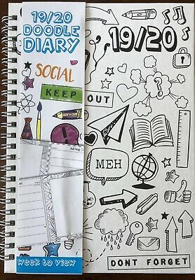 2019 2020 A5 Week to View Academic Diary Mid Year Planner - Doodle Colour In