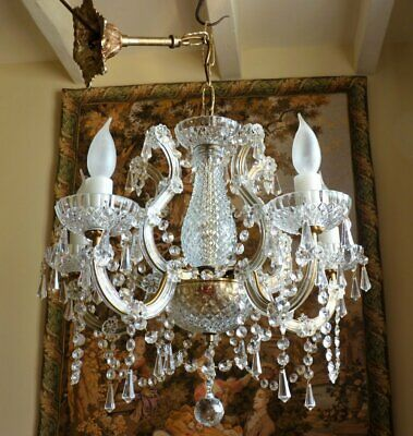 Vintage Crystal Chandelier 5 arm Glass ceiling light French Boudoir Chic