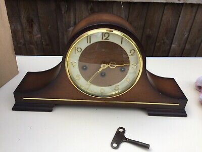 Antique Woodford Mahogany Chiming Mantle Clock By Franz Hermle 2 Jewels