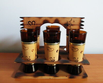 Siesta Ware 6 Tumblers + Caddy Western Style Maple Wood Jacket 1960s USA Benner