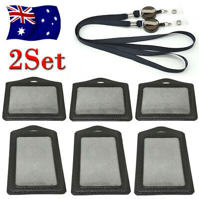 4X Leather Business ID Badge Card Holder & Retractable Lanyard Neck Strap Band