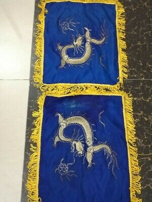 2 Antique Chinese Qing Dynasty Hand Embroidered Dragon Cushions Cm 46X37 Each