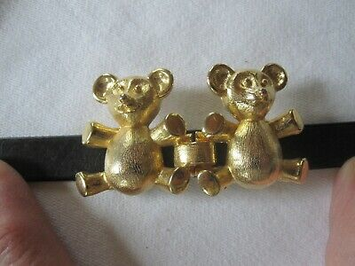 Vintage Mimi Di N Vintage Gold Finish Teddy Bear Belt Buckle Signed Dated 1979