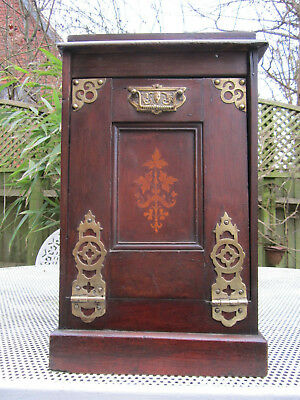 Old Antique Victorian Walnut Pendonium Cabinet with Brass Marquetry c1880