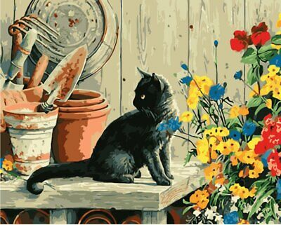 Paint By Numbers Kit - Adults - Black Cat - 20in x 16in