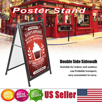 Black Iron A-frame/Sandwich Double Side Advertising Display Board Poster Stand S