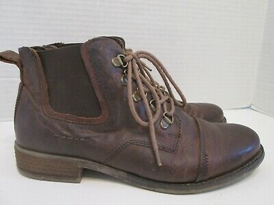 eb6d32d949b92 Josef Seibel Womens Brown Leather Lace Up Cap Toe Ankle Boots Size 38 / 7-