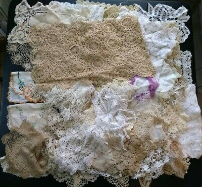 Huge Vintage Antique Doily Lot Crocheted Tatted Lace Some Handmade Embroidered