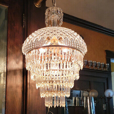 335 Vintage Antique 40's Ceiling Lamp Fixture Glass Shade Chandelier 3 Lights