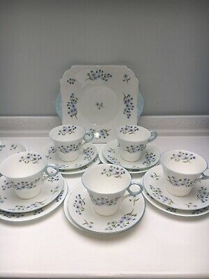 Vintage Shelley Bone China Dainty Blue Rock Cup Saucer Plates Cake Plate