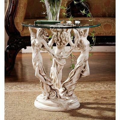 The Three Graces Muses ancient Greek Roman Sculpture Glass Console Table 20""