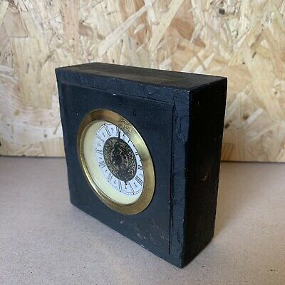 Vintage West German Mercedes Slate Mantle Desk Clock - Wind- Up - 10 x 10cm