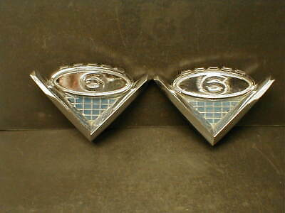 PAIR of OE 1962,1963,1964,1965,1966 GMC TRUCK V-6 CHROME HOOD SIDE EMBLEMS