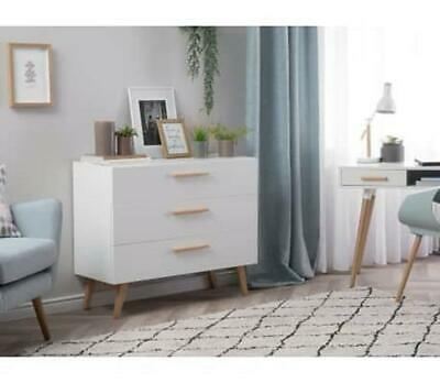 NEW Beautiful White Solid Wooden Bedroom Furniture Sideboard Chest Of 3 Drawers