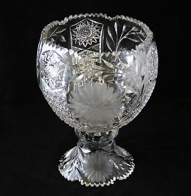 Antique American Brilliant Period Cut Glass Punch Bowl Etched Flower Leaves ABP