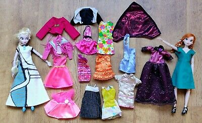 """Two Dolls + Clothes Bundle, Elsa and Anna Dolls, Lots of Barbie Clothes, 11.5"""""""