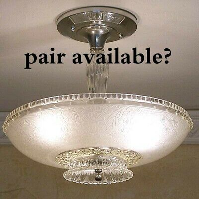 881 Vintage Antique 40's Ceiling Lamp Fixture Glass Shade Chandelier 1 of 2