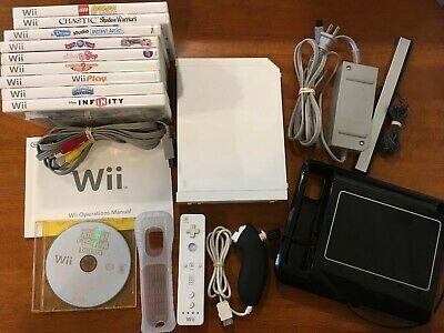 Nintendo Wii Console White System RVL-001 Gamecube Compatible Bundle w/ 10 Games
