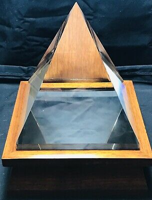Huge Retro Mid-Century Cut Glass Crystal Pyramid Prism Healing Fortune Telling