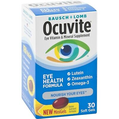 Ocuvite Eye Vitamin & Mineral Supplement Soft Gels, 30 ct exp 01/2020 and up