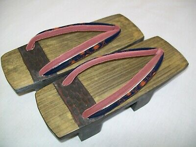 Authentic Japanese Geta(Wooden Clog) Small Size Velvety Straps Light Weight Sage