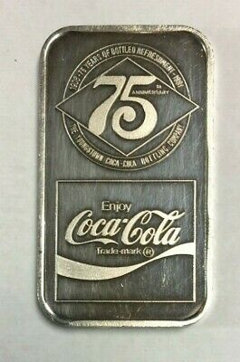 1981 Coca-Cola 75th Anniversary 1 oz Silver Ingot Youngstown, OH EXTREMELY RARE