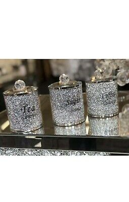 Diamond Crushed Silver Crystal Filled Tea Coffee Sugar Canister Jars Storage