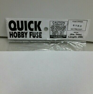 20' Fireworks Quick Hobby Fuse Label 3mm White 0.1-0.3sec Per Foot