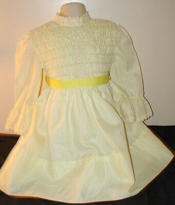 Vintage Sheer Yellow Smocked Dress 4 Toddler Girls