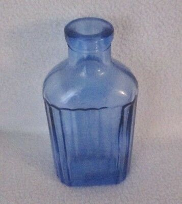 Vintage Hazel Atlas Light Blue Ribbed 2 oz Glass Apothecary Bottle HA Marked #7