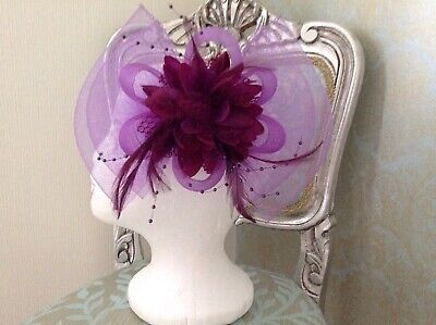 Brand New, Purple Feather Fascinator, Wedding, Mother of the Bride, Races, Prom